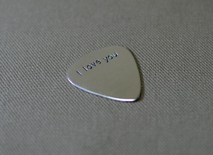 I love you sterling silver guitar pick