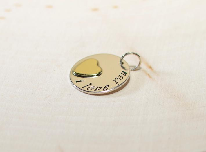 Sterling silver I love you charm with brass heart