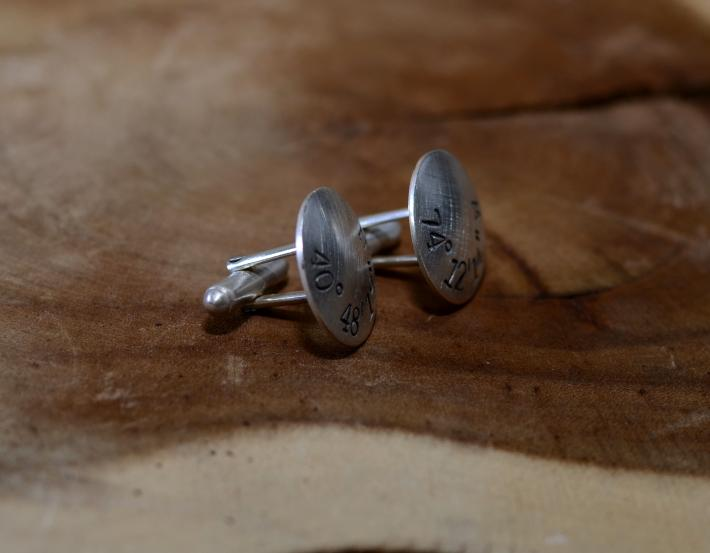 Personalized latitude longitude sterling silver cuff links with rustic finish