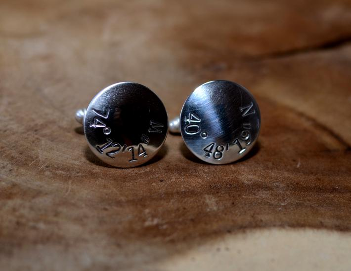Latitude longitude coordinates sterling silver cuff links