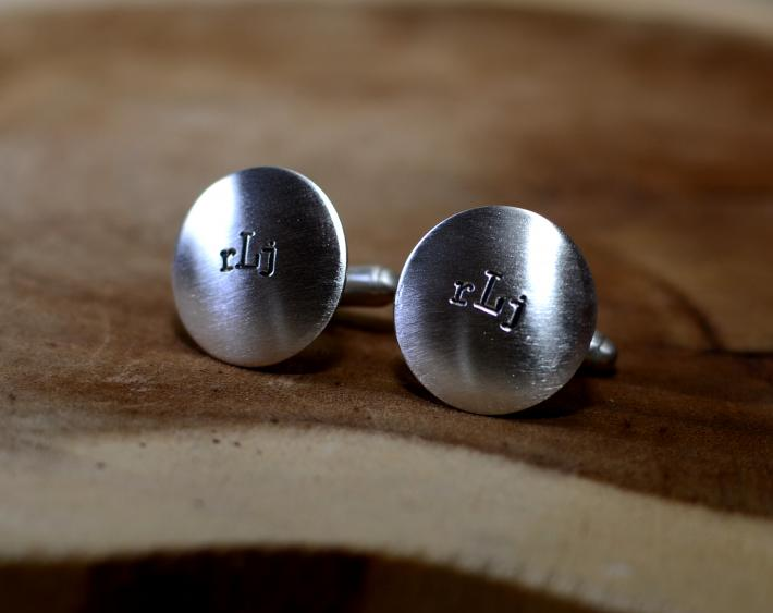 Sterling silver handmade monogram cuff links