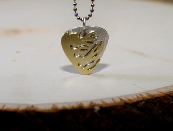 Sterling silver guitar pick pendant with brass flames