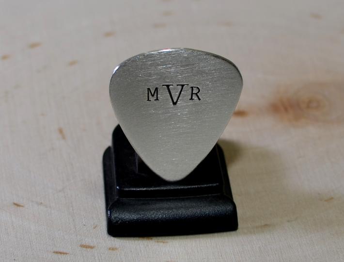 Sterling silver monogrammed guitar pick