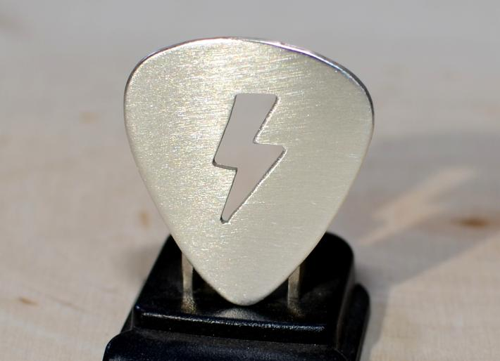 Lightening bolt guitar pick in sterling silver