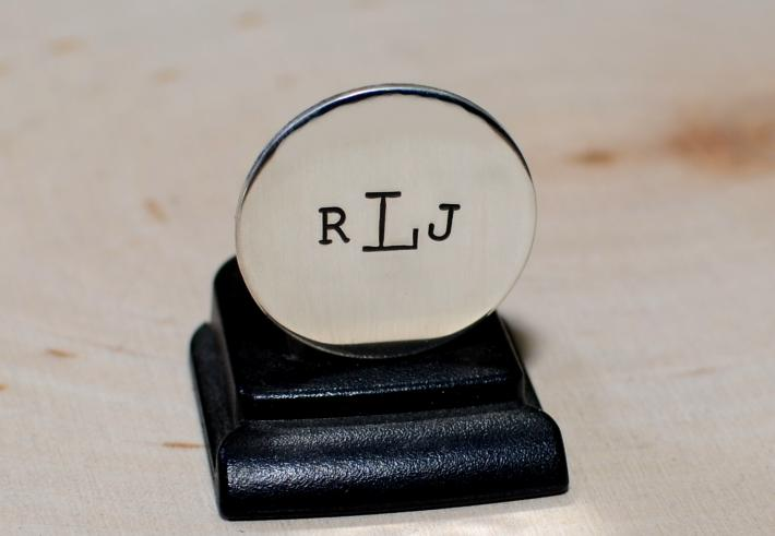 Sterling silver golf marker with personal monogram