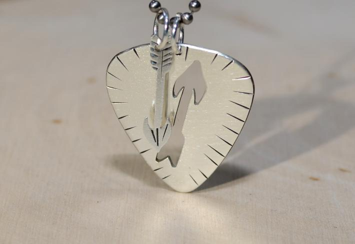 Guitar pick sterling silver necklace with arrow pendant