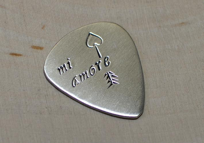 Mi Amore Sterling Silver Valentines Day Guitar Pick