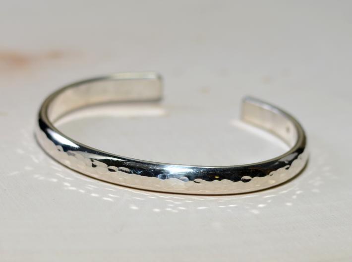 Hammered half round sterling silver bracelet