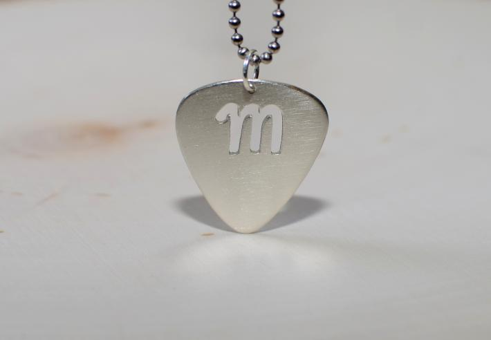 Guitar Pick Sterling Silver Necklace with Personalized Letter Cut Out