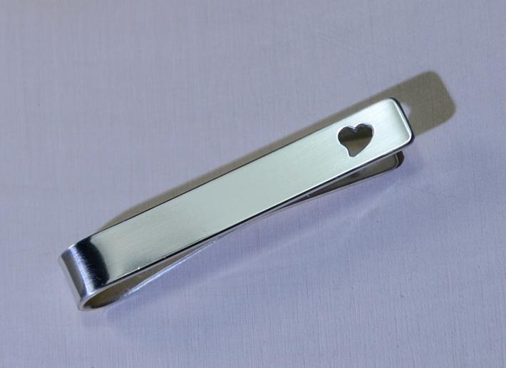 Sterling silver tie bar with heart for love weddings or Fathers Day