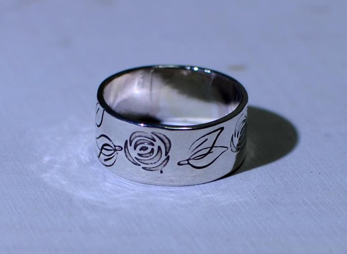 Rose ring in sterling silver