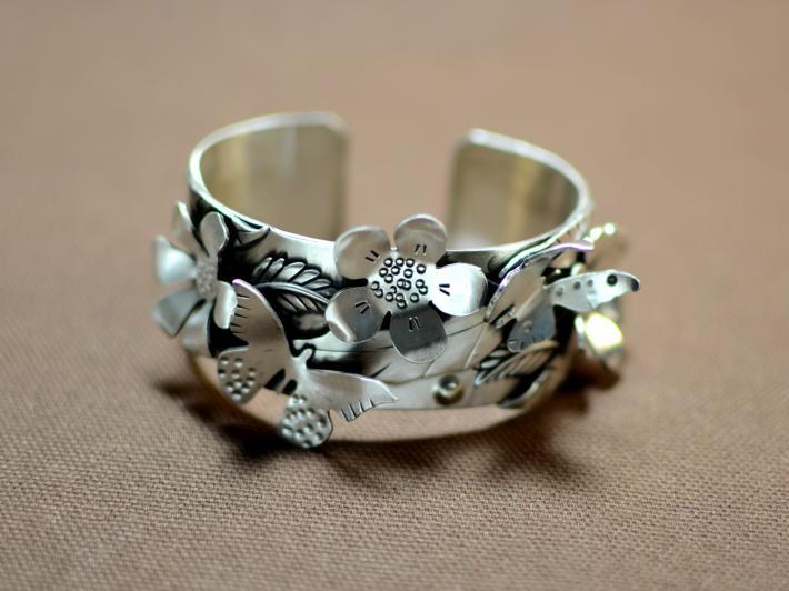 Beauty of Life sterling silver butterfly garden cuff bracelet