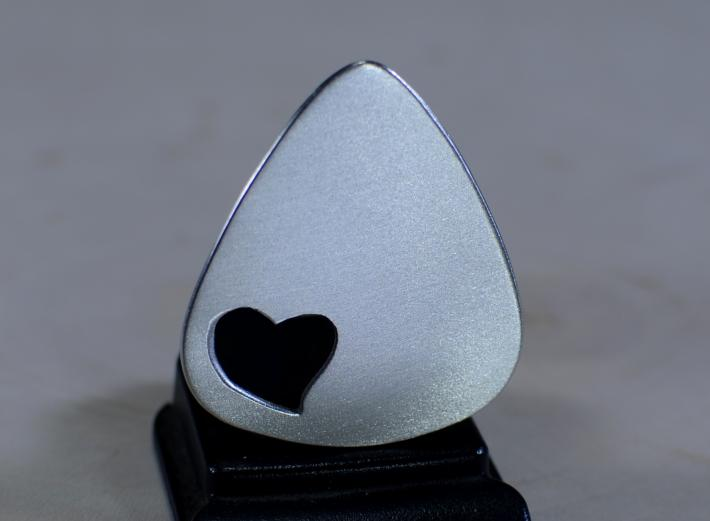 Aluminum guitar pick with love and heart