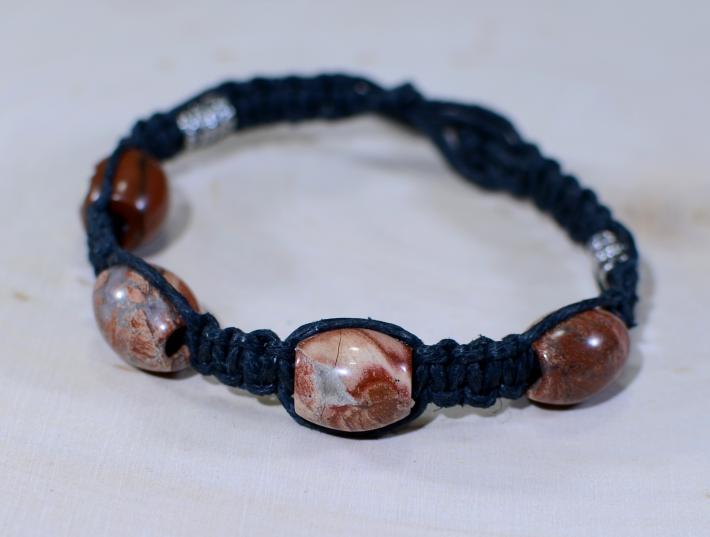 Jasper Beads in Blue Hemp Bracelet or Anklet