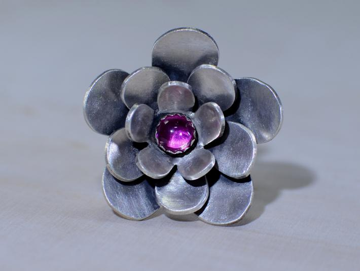 Three layered sterling silver flower cocktail ring with pink ruby