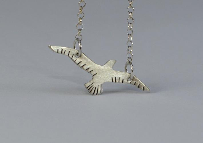 Sterling silver bird necklace handmade for free spirit