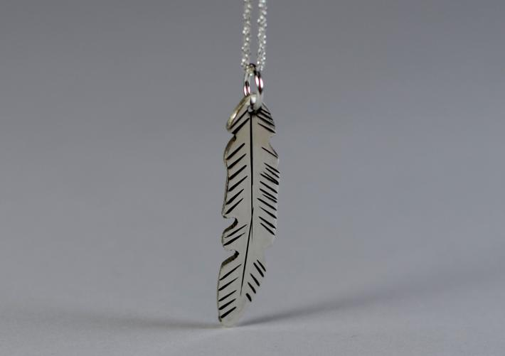 Sterling silver feather necklace freehand designed and hand engraved