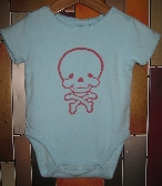 Skull and Crossbones onesie 3 to 6 months