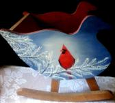 Hand Painted Small Wood Sleigh Rocker
