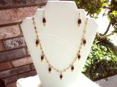 Beautiful Burgundy Drops Necklace and Earrings Set