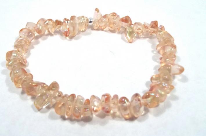 Pink Glass Chip Stretch Bracelet BE1965
