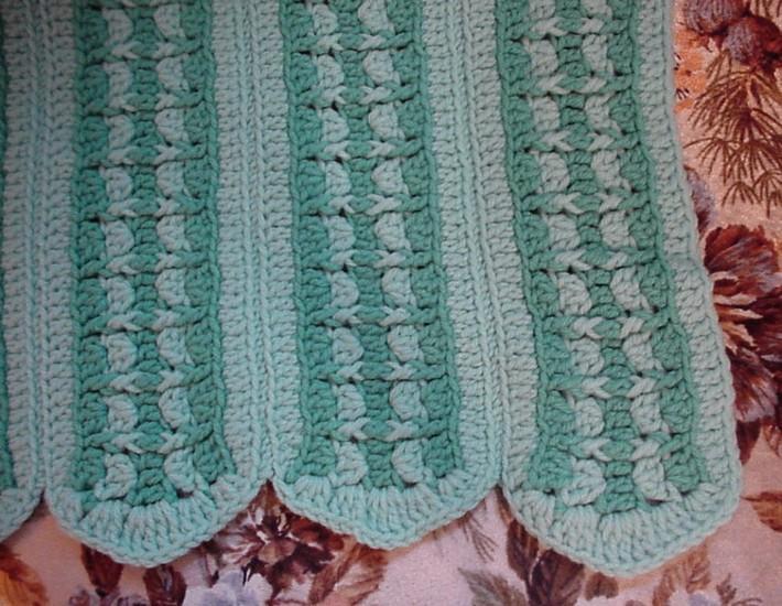 Crocheted Green Afghan Crochet Afghan AF3881A