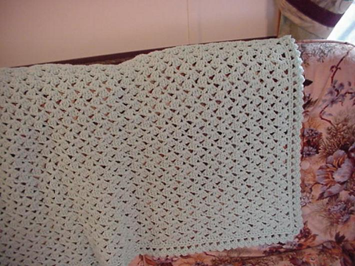 Crocheted Pale Green Lacy Shells Afghan AF4888B