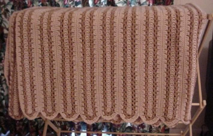 Crocheted Brown and Buff Brown Country Lane Afghan AF1228B