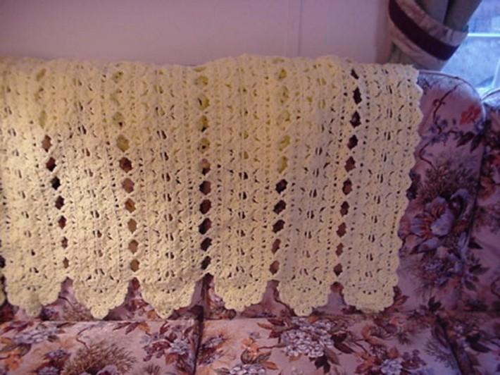 Crocheted Yellow Filigree Fantasy Afghan AF7534A