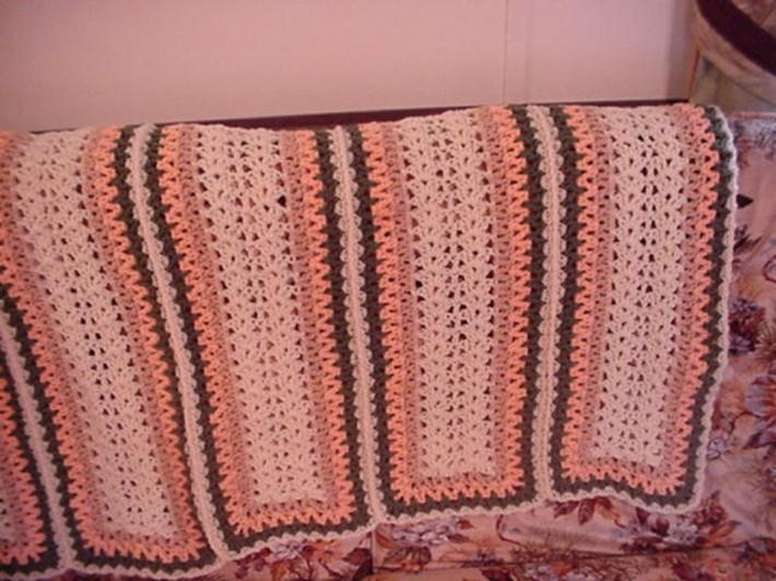 Crocheted Aran Light Coral Green and Buff Brown Afghan AF1534B