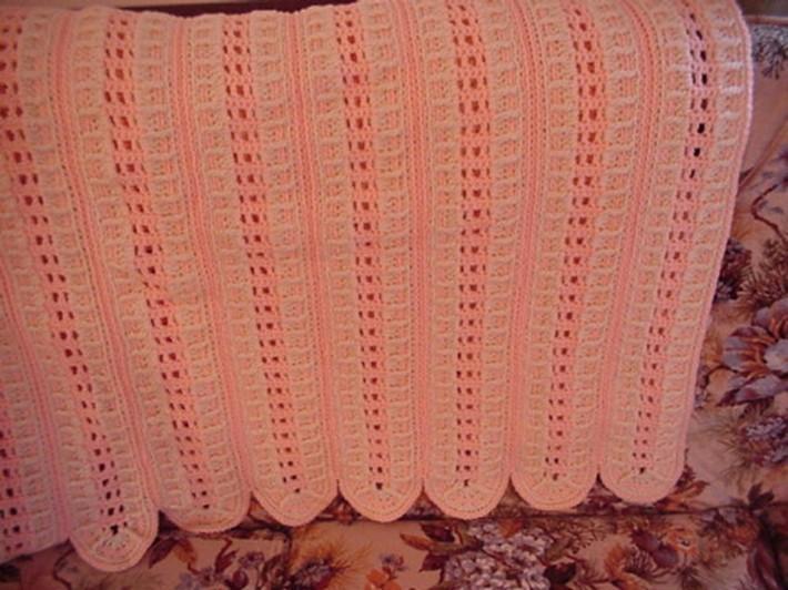 Crocheted Aran Peach Afghan AF0710A