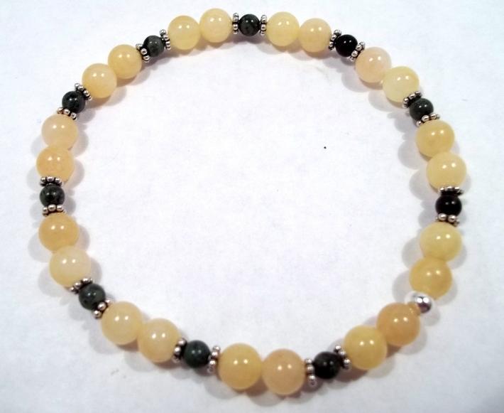 Yellow Jade and Kambara Jasper Gemstone Stretch Bracelet BE2053Beaded Gemstone Gemstone Bracelet Gemstone Jewelry Jade Bracelet Jasper Bracelet