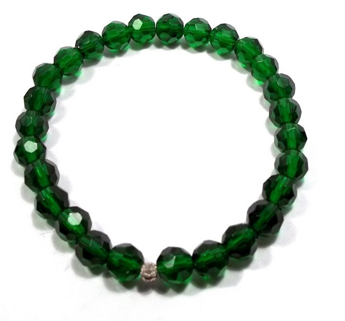 Emerald Crystal Bead Stretch Bracelet BE1847