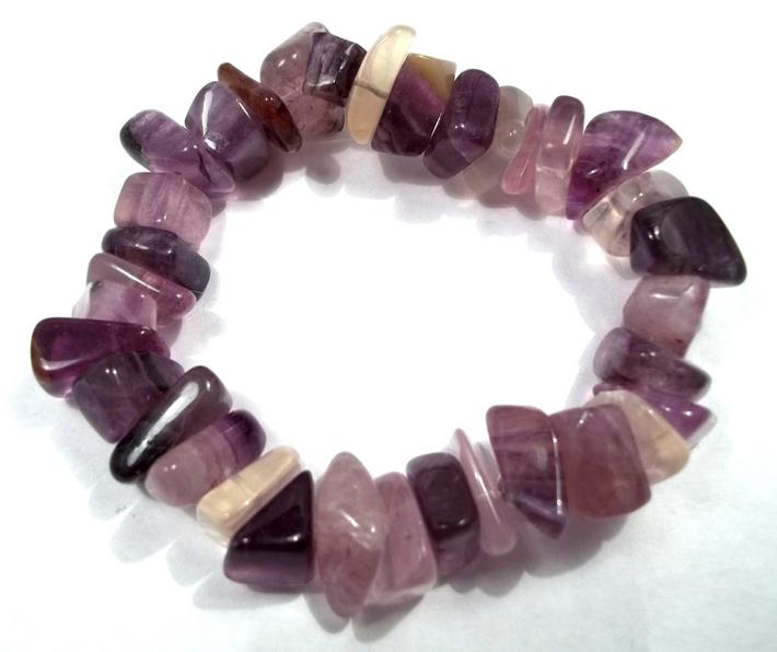Purple Fluorite Large Chip Stretch Bracelet BE1873