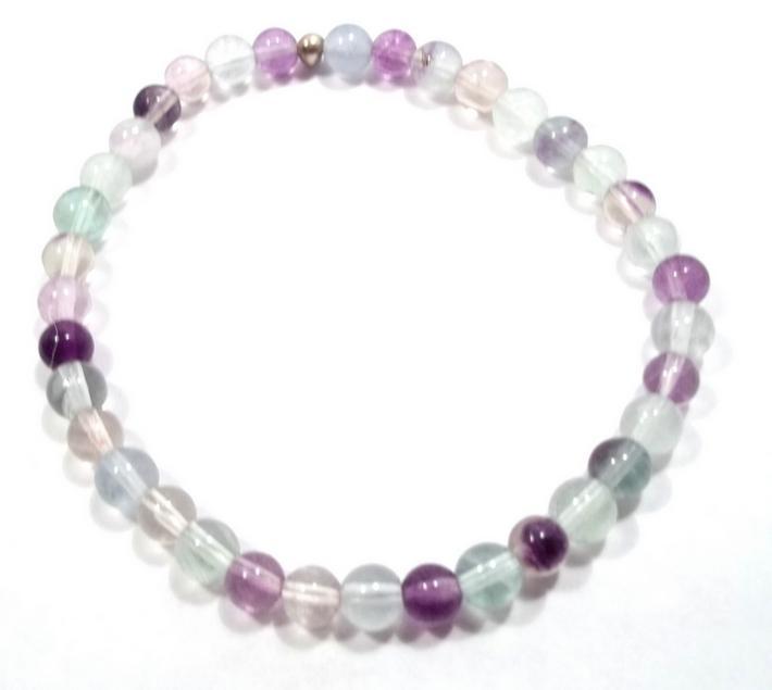 Rainbow Fluorite Gemstone Stretch Bracelet BE1809