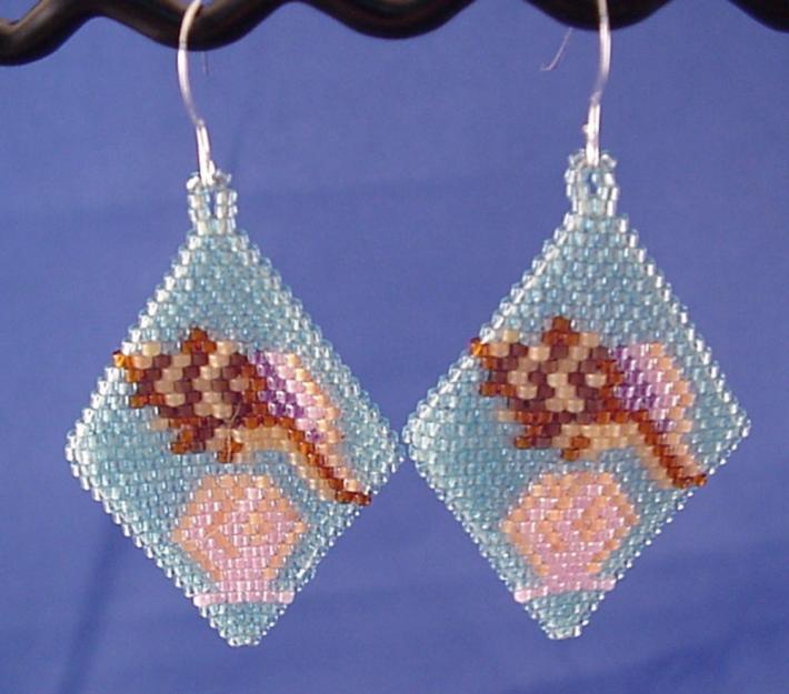 Tan Brown Purple Sea Shells Seed Bead Earrings on Light Blue Background Clip On Earing Clip On Earring Seed Bead Jewelry Shell Earring