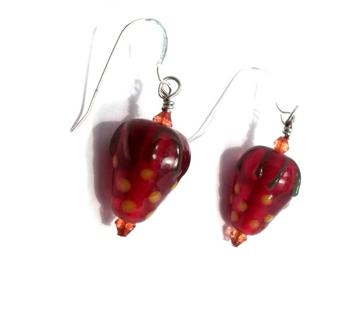 Lampwork Strawberry Bead Earrings BE1723