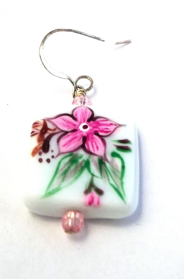 Square Lampwork Pink Flower Bead Earrings BE1934