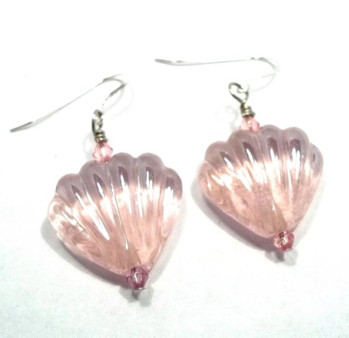 Pink Glass Shell Lampwork Bead Earrings BE1720