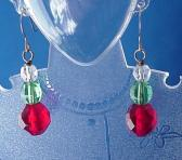 Clear Green and Red Faceted Round Glass Earrings Glass Jewelry Red Earrings Clip On Earing Clip On Earring Green Earring Clear Earring