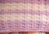 Crocheted Mauve and White Waffle Stitch Baby Blanket BB0407A7