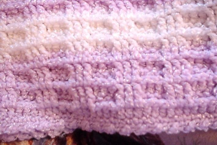 Crocheted Mauve and White Waffle Stitch Baby Blanket BB0407A7 on Handmade Art...