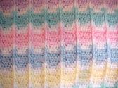Crocheted Blue Yellow Pink Green Peach Mauve Aqua White Baby Blanket BB0203A3